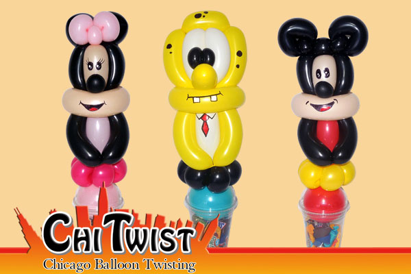 Minnie Mouse Mickey Mouse and Spongebob Candy Cup Balloons