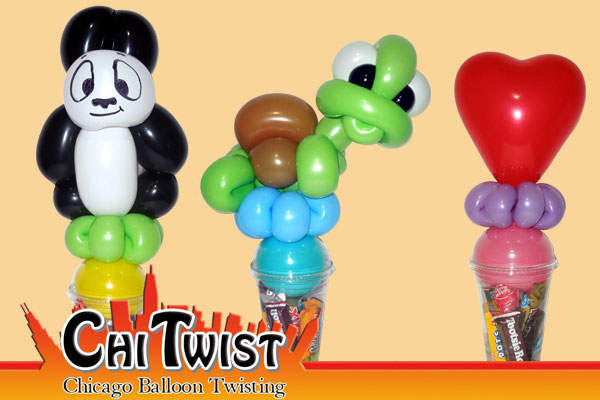 Panda Turtle Valentines Day Candy Cup Balloons