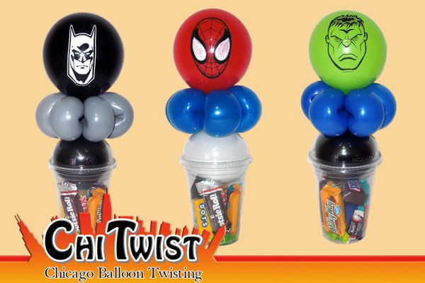 Small Super Hero Candy Cup Balloons